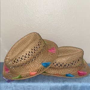 NWT CLAIRE'S hat - straw w/ multi colored tassels